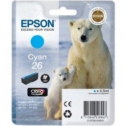 Cartouche cyan EPSON pour Expression Home XP-600... (N°26) (ours)