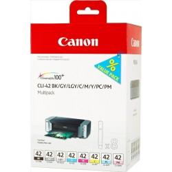 Multipack de 8 cartouches d'encre Canon CLI-42 BK/GY/LGY/C/M/Y/PC/PM