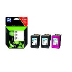 Pack 2 encres noires et 1 couleur HP pour deskjet 1050 / 2050 / 3050 ... (N°301)