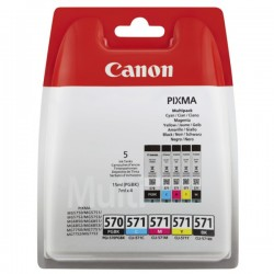 Multipack 5 Encre (CLI-571+PG570) pour Canon Pixma MG 5750 / MG 7750...