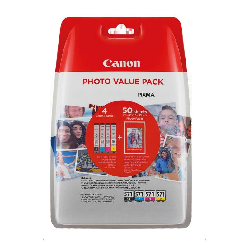 multipack 4 encre cli 571 papier pp201 pour canon pixma mg 5750 mg 7750. Black Bedroom Furniture Sets. Home Design Ideas