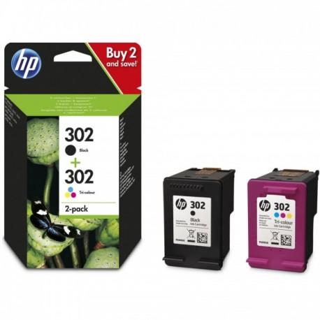 Pack de 2 Cartouche Jet d'encre N°302 (1 Noir + 1 Couleur) HP pour Imprimante Jet d'encre