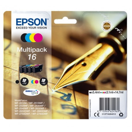 Multipack Epson pour WorkForce WF-2010w / WF-2520nf ... (n°16 - plume) (C13T16264012)