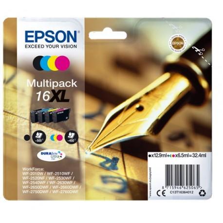 Multipack haute capacité Epson pour WorkForce WF-2010w / WF-2520nf ... (N°16XL - Plume) (C13T16364012)