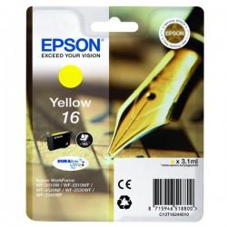 Cartouche jaune Epson pour WorkForce WF-2010w / WF-2520nf ... (n°16 - plume) (C13T16244012)