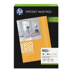 Pack économique HP : 3 Encres (C, M, Y) + papier pour officejet Pro (903XL)