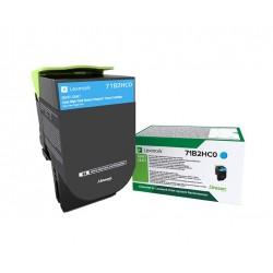 Toner Cyan, rendement élevé, LEXMARK Return Program pour imprimante CS417dn/ Multifonction CX417dn