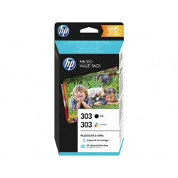 Value Pack Photo HP 303 Noir/trois couleurs (40 feuilles, 10 x 15 cm) pour Envy Photo 6230, 7130, 7830 (N°303)