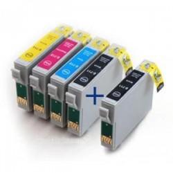 Pack de 5 Cartouches génériques pour Epson Stylus DX6050 / 4000 / 5000... (2BK/1C/1M/1Y)