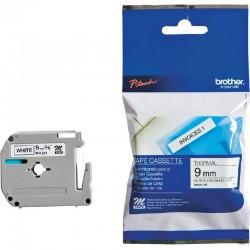 Ruban d'étiquettes 9 mm Largeur x 8 m Longueur noir sur blanc pour Brother PT55 / PT75