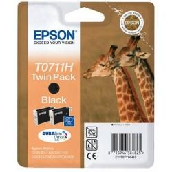 Twin pack Epson T0711H, 2 cartouches noir pour Stylus DX6050 / 4000 / 5000 (11.10 ml x 2)