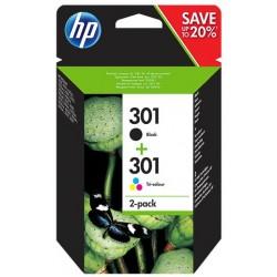 Pack noir + couleurs HP pour Deskjet 1050 / 2050 / 3050 ... (N°301) (J3M81AE remplacé par N9J72AE)