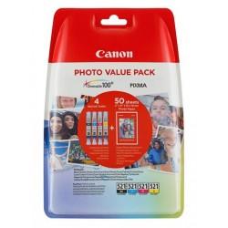 Pack éco Cartouche d'encre Canon CLI-521 BK/C/M/Y + papiers photo