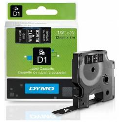 Ruban Dymo D1 (45021) 12mm x 7m Blanc sur noir pour LabelManager ...