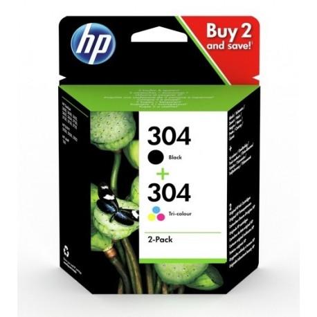 Pack de 2 Cartouches HP Jet d'encre N°304 Noir (120 pages) + Couleur (100 pages)