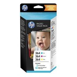 Pack 3 couleurs + papier photo 10*15 HP N°364 / N°178 pour photosmart B8550 / C5380...