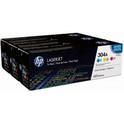 Pack tricolor HP pour laserjet CP2020/CP2025/CM2320MPF (304A)