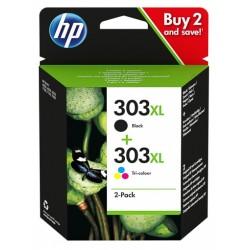 Pack 2 cartouches d'encre haute capacité HP  Noir + couleurs pour Envy Photo 6230, 7130, 7830 (N°303XL)