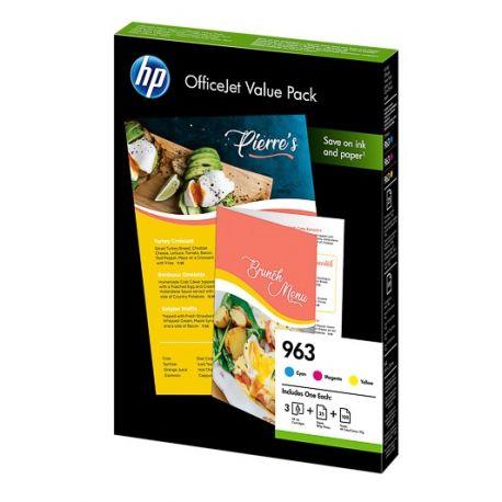 Pack économique HP : 3 Encres (C, M, Y) + papier pour officejet Pro (N°963)