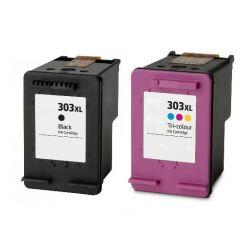 Pack 2 cartouches d'encre générique haute capacité  Noir + couleurs pour HP Envy Photo 6230, 7130, 7830 (N°303XL)