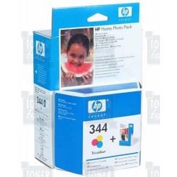Cartouche d'encre Couleur HP n°344 + 130 Feuilles papier photo (Q7873EE)